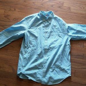 J. Crew Aqua & White Check Shirt
